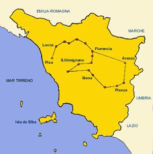 Mapa De La Toscana Y Sus Pueblos.Viajes